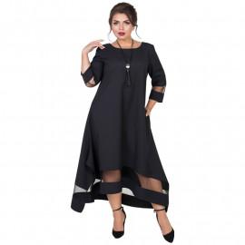 Нарядное платье черного цвета для полных MN017-1