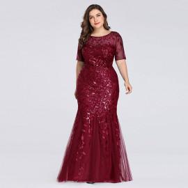 Длинное платье на торжество для полных женщин MN016-1