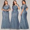 Вечернее платье в пол для полных женщин MN016-3