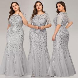Нарядное серое платье в пол большого размера MN016-6