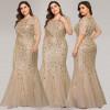 Бежевое платье в пол для полных женщин MN016-7